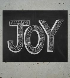 Joy To The World Christmas Chalkboard Art Print  by Lily & Val on Scoutmob Shoppe