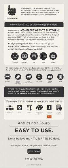 What is IndieMade infographic? Its not just a website provider, or an e-commerence platform, a portfolio website, a blog, a web based calendar, a news story application, a place to embed video or a just a website host.