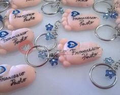 For BIG order plase READ ALL - Baby feet Keychain or magnet in fimo for baptism, birth or other occasion on order by moonlightcreazioni. Explore more products on http://moonlightcreazioni.etsy.com