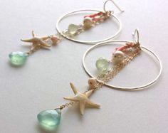 Étoile de mer Hoop boucles d'oreilles, plage Dangle, vraie étoile de mer boucles d'oreilles, boucles d'oreilles créoles hawaïenne, Cluster Beachy Dangle, plage Boho cerceaux,
