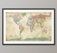 Political Map of the World Map Old Style Art Print by artPause