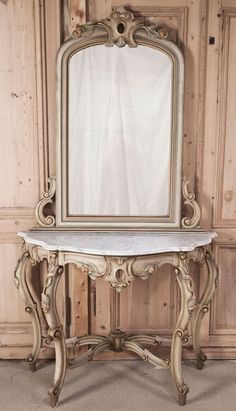 Antique Venetian Painted Console with Mirror | Antique Furniture | # Antique #Furniture | Inessa Stewart's Antiques