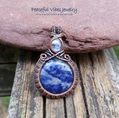 """Wire Wrapped """"Mother Earth"""" Sodalite Pendant Rainbow Moonstone Necklace Oxidized…"""