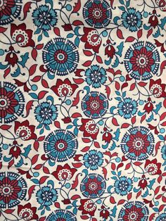 Chennai Medallion Floral Red and Blue Fabric by the Yard by LaCreekBlue on Etsy