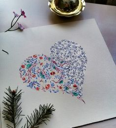 Yeni tasarımım; tezhip bir aşk Old Book Crafts, Art Tutor, Illumination Art, Islamic Art Pattern, Turkish Art, Arabic Art, Letter Art, Calligraphy Art, Illuminated Manuscript