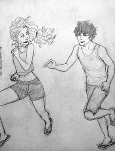 Percabeth (a run to the beach by ah-nada on DeviantArt)