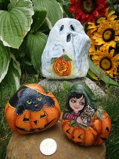 Trick or Treat Painted Rocks by Cynthia Snider