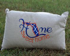 Florida Home Sweet Home Pillow State School, Crossbody Clutch, School Colors, Florida Home, Bed Pillows, Sweet Home, Florida Gators, Tailgating, Handmade Gifts