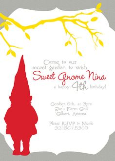 printable party invitations for a gnome themed birthday