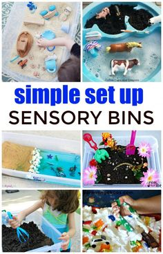 Simple Sensory Bin Ideas are a great way to get kids engaged. They allow children an open ended way to experiment with various materials.