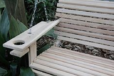 5 Foot Cypress Handmade Porch Swing Swings Wood Wooden w/ Cupholders Yard Swing, Swing Seat, Pallet Furniture, Outdoor Furniture, Outdoor Decor, Porch Swings For Sale, Yard Art Crafts, Wooden Swings, Dog Houses