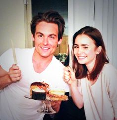 "Actors in The Mortal Instruments: City of Bones. Kevin Zegers (to play Alec Lightwood) and Lily Collins (to play Clary Fray). Kevin (@KevinZegers) just tweeted (7/27 1:33AM) ""Lovely wedding gift from the lovely @Lily Morello Morello Morello Morello Morello Morello Morello Morello Collins)"