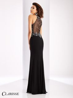 Fitted 2017 Clarisse Prom Dress Style 3115. Feel sexy and confident in this fitted sleeveless dress with its amazing slit, crystal embellishments and mesh back! Buy yours today from a Clarisse retailer nearest you! Click through to learn more and see the other gorgeous colors! COLOR: Black, Red, Eggplant, Navy SIZE: 00-20