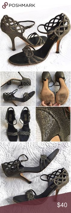 "Badgley Mischka Heels Beautiful Badgley Mischka strappy heels with a subtle sparkly texture on them. 3"" heel.  Adjustable buckle around ankle.  Worn twice and in excellent condition. Badgley Mischka Shoes Heels"