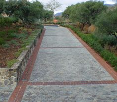 Pavers with brick grid