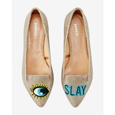 Express Slay Embroidered Patch Flat (970 MXN) ❤ liked on Polyvore featuring shoes, flats, gold, flat shoes, flat pointed toe shoes, gold flat shoes, gold shoes and pointy-toe flats