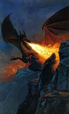 Sorrel's Dragons: a blast of fire, painted by Ted Naismith.