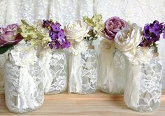 ivory lace covered jars wedding or bridal shower decoration