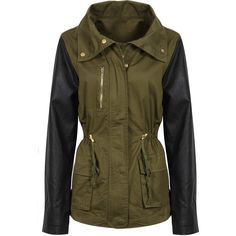 Khaki Jacket with PU Leather Sleeves (71 AUD) ❤ liked on Polyvore featuring outerwear, jackets, casacos, coats, veste, khaki military jacket, brown military jacket, zipper jacket, pu jacket and khaki jacket