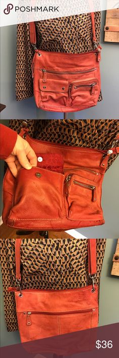 Fossil bag Distressed red leather bag with magnet closure and zippers. Clean inside. Cool look😎 Fossil Bags Shoulder Bags