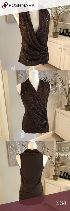NEW Karen Kane brown sequin Wrap Front Top Sz XS Really nice top that can be worn sexy with a low open drape or more modest with the wrap higher. Sequins are only in the front and around the collar. Shirting at back of collar adds interest. Tag is missing but extra sequins are there. 97% Rayon 3% spandex. Karen Kane Tops