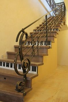 """""""Upstairs to the music room. Great bannister ends in the form of a ? no maker sorry. Railing Design, Stair Railing, Staircase Design, Stair Lift, Banisters, Railings, Escalier Art, Music Furniture, Stairway To Heaven"""