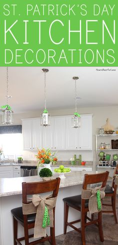 St Patricks day decorated kitchen with lots of green accents