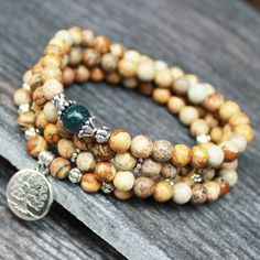 108 Buddhist Mala Yoga Necklace Picture Jasper Moss Agate Tree of life - Nature and Energy by DazzleDream on Etsy https://www.etsy.com/listing/176954187/108-buddhist-mala-yoga-necklace-picture
