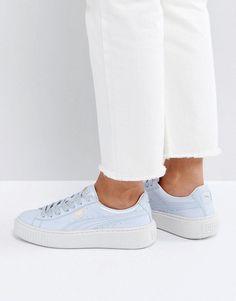Puma Platform Sneakers In Blue Patent - Blue