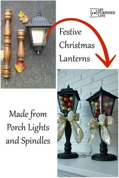 make festive Christmas Lanterns out of porch lights and spindles MyRepurposedLife.com