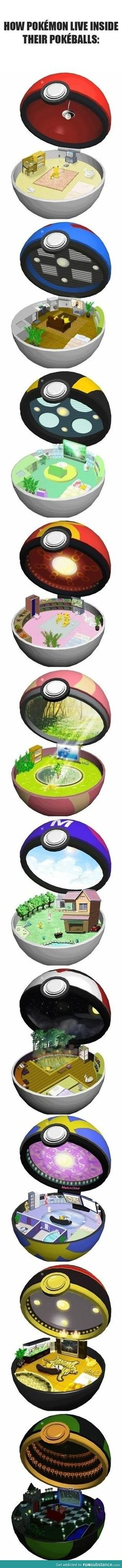 How Pokemon live inside their Pokeballs. Cute. :P