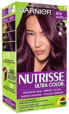 Garnier Nutrisse Ultra Color in 416 Intense Violet.Nourished hair vibrant color: - All For Hair Color Trending Burgendy Hair, Plum Hair, Dark Hair, Box Hair Dye, Dye My Hair, Hair A, Rose Hair, Violet Hair Colors, Hair Color Purple