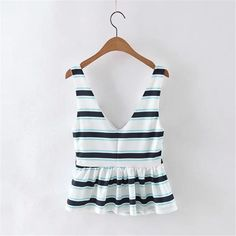 Women Striped Sleeveless Tops Fashion Casual Tanks Girls'Summer Sexy Vest High Quality Clothing