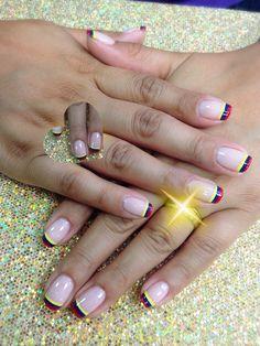 Nail Colombia World Cup Dani, Patriots, My Nails, Nail Designs, Polish, Nail Art, Outfits, Beauty, Decor