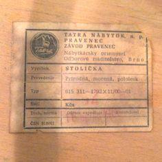 TATRA national furniture company. Label 1966.