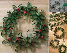 A Christmas Wreath using old toilet paper rolls (Lord knows I have enough of those), paint and a few holly berries. This is a great idea, not only because it's incredibly inexpensive, but also because it doesn't require a lot of skill to look good.