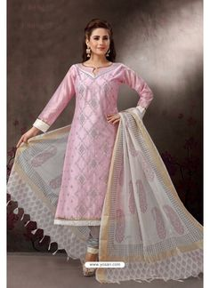 Baby pink churidar kameez with dupatta. It is paired with a matching bottom along with a fabulous dupatta. Salwar Suit Neck Designs, Dress Neck Designs, Women Salwar Suit, Churidar Suits, Readymade Salwar Kameez, Pakistani Models, Indian Ethnic Wear, Indian Designer Wear, Indian Outfits