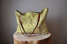 The Willow Tote in Mustard Semi-Circle Print - Organic Cotton Canvas Tote