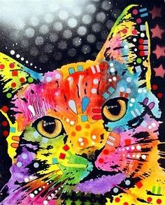 Tilted Cat Painting by Dean Russo - Tilted Cat Fine Art Prints and Posters for Sale