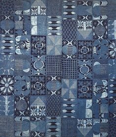 Africa | Adire cloth from the Yoruba people of Nigeria | Late 20th century | Cotton; plain weave patterned with hand drawn starch resist, indigo dyed