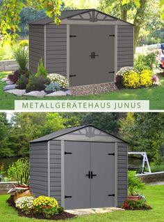 Kleines Gartenhaus in großem Stil: Sie haben einen kleinen Garten? Kein Problem für das Metallgerätehaus Junus. Shed, Outdoor Structures, Patio, Home And Garden, Barns, Sheds