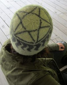Free Knitting Pattern for Supernatural inspired Anti-Possession Hat - Ellen Hyde designed this reversible double-knit winter hat that incorporates the anti-possession symbol from the CW's show Supernatural.