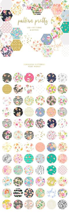 Pattern Pretty. A Set of Lovely Patterns, Invitation Templates, and More... carefully curated with tons of florals, watercolor abstract patterns
