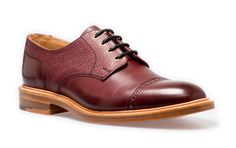 NPS Gibson Shoe. Burgundy coloured derby shoe. Handmade in Britain. Available at www.shoes121.co.uk.