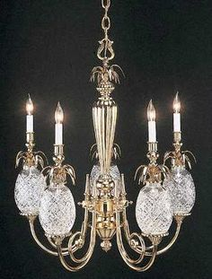 Waterford Crystal Chandelier with Pineapples, symbol of hospitality.
