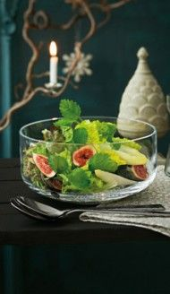 Urban Nature dish in clear glass, to show off your #gourmet spin on a green salad (with #figs, perhaps?)