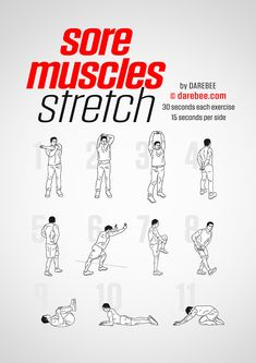 Sore Muscles Stretch by DAREBEE - Healty fitness home cleaning Power Workout, Gym Workout Tips, Weight Training Workouts, At Home Workout Plan, At Home Workouts, Workout Fitness, Boxing Training Workout, Biceps Training, Home Boxing Workout