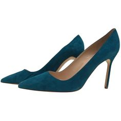 Pre-owned Manolo Blahnik Turquoise Suede Heels ($480) ❤ liked on Polyvore featuring shoes, pumps, turquoise, women shoes heels, teal green shoes, bright shoes, bright colored shoes, pre owned shoes and manolo blahnik pumps