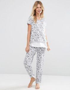 Image 4 of ASOS Maternity NURSING Mono Floral Double Layer Pajama Set