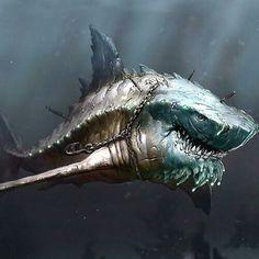 Megalodon - 3 times bigger than a Great White shark Fantasy Monster, Monster Art, Creature Concept Art, Creature Design, Mythical Creatures, Sea Creatures, Shark Pictures, Megalodon Shark, Shark Art